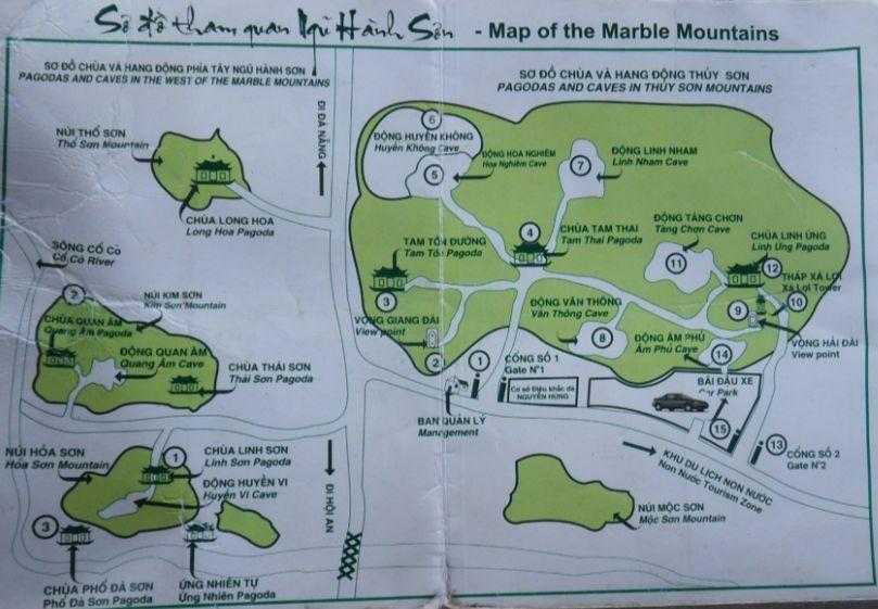 Mountains In Vietnam Map.Visit Marble Mountains Between Hoi An And Da Nang Hoi An Bike Tours